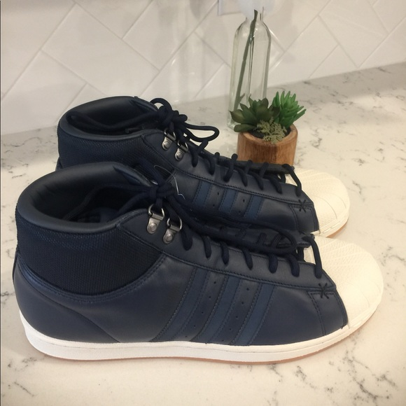 adidas Shoes Pro Model Bt Blue Leather High Top B39507 Poshmark